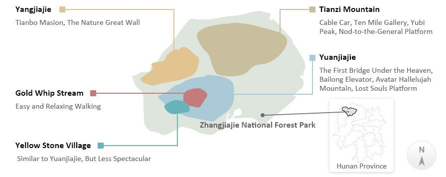 The Map of Zhangjiajie National Forest Park